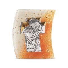 Murano-i üveg plakett ezüstözött betéttel